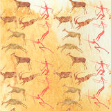 Cave Painting Seamless Pattern. Hunting scene background Royalty Free Stock Image