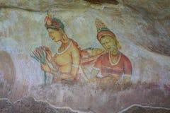 Cave painting on treck up lions rock Sigiriya. View of Lions Rock in Sigiriya Sri Lanka Aasia Royalty Free Stock Photography