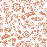 Cave painting tribal ethnic symbols - seamless pattern Royalty Free Stock Photography