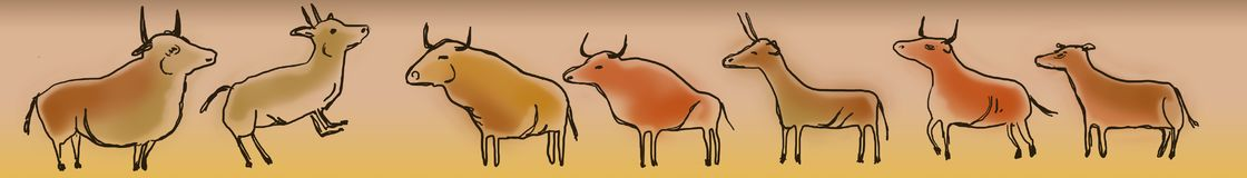 Cave paintings of bulls and goats. Strip of bulls, deer and brown goats arranged along imitating the paintings of the primitive men of prehistory that painted on Stock Photography