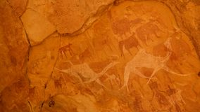 Cave paintings and petroglyphs in Bichagara Cave camel, cow , Ennedi, Chad royalty free stock photography