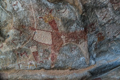 Cave paintings and petroglyphs Laas Geel near Hargeisa closeup Somalia Royalty Free Stock Photos