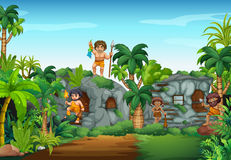 Cave people living in the forest Royalty Free Stock Images