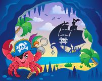 Cave with pirate crab. Eps10 vector illustration Stock Images