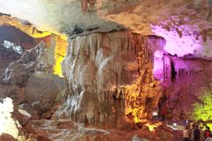 Discovery Sung sot cave -stalactite cave in Ha Long Viet Nam. A cave placed in Hạ Long bay Viet Nam. The straight cliff walls formed by sedimentary rocks stock photos