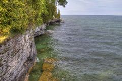 Cave Point on Lake Michigan in Wisconsin royalty free stock photography