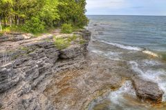 Cave Point on Lake Michigan in Wisconsin royalty free stock image