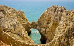 Cave at Ponta da Piedade, Algarve, Portugal Royalty Free Stock Photos