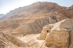 Cave in Qumran, where the dead sea scrolls were found Royalty Free Stock Photos