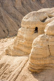 Cave in Qumran, where the dead sea scrolls were found Royalty Free Stock Photography