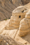 Cave in Qumran, where the dead sea scrolls were found Royalty Free Stock Image