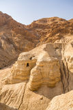 Cave in Qumran, where the dead sea scrolls were found Stock Photography