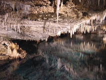 Cave Reflections. Colourful reflections of stalactites in Crystal and Fantasy caves, Bermuda stock photos