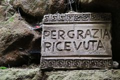 Cave of Revelation at the Three Fountains in Rome. The cave of revelation, also called `Sanctuary of the Three Fountains`,  does not belong to the Abbey of the Stock Images