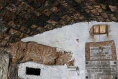 Cave of Revelation at the Three Fountains in Rome. The cave of revelation, also called `Sanctuary of the Three Fountains`,  does not belong to the Abbey of the Royalty Free Stock Photo