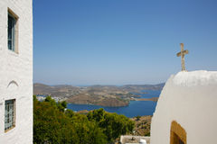 Cave of revelation in  greece. View of  the Cave of Revelation in Patmos island in Greece and the sea Royalty Free Stock Photos