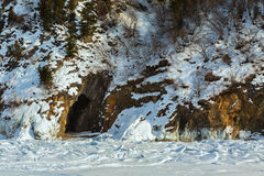Cave in the rock with icicles. Stock Photography