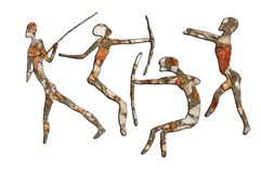Rock Paintings. Cave rock painting, tribal people on white background Stock Images
