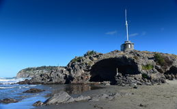 Cave Rock at Sumner Beach in Christchurch Stock Image