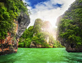Cave rocks on railay beach Royalty Free Stock Photos
