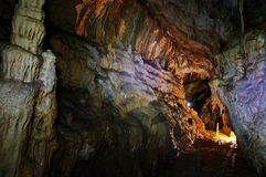 Inside the cave - landmark attraction in Romania Royalty Free Stock Image