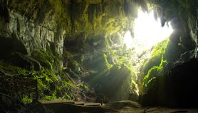 Cave shot of Borneo in Asia. Beautiful light ray royalty free stock image