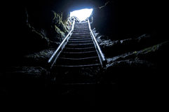 Cave Stairway. Stairway at the skylight in Ape Cave, near Mt St Helens, WA Stock Images