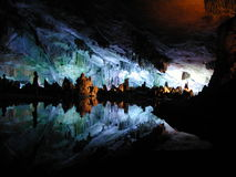 Cave - Stalactite. Taken from a tourist area, Reed Flute Cave, in Guilin, China stock image