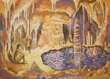 Cave. With stalactite and lake royalty free illustration