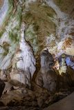Cave stalactites, stalagmites, and other formations at Marble cave, Crimea Royalty Free Stock Photo