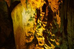 Cave with stalagmites and stalactites below the surface. Cave with stalagmites and stalactites landscape below the surface old stock images