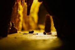 Cave with stalagmites and stalactites below the surface. Cave with stalagmites and stalactites landscape below the surface old stock image