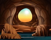 Cave with sunlight opening. Illustration stock illustration