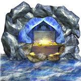 Cave surrounded by water. Treasure in the wooden chest Stock Image