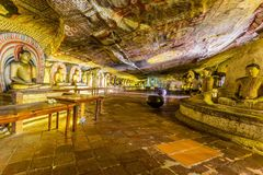 Cave temple complex in Dambulla, Sri Lanka. Buddha`s in the cave temple complex in Dambulla, Sri Lanka Royalty Free Stock Photos