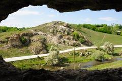 Cave in toltre near the Butesti village, Moldova Stock Image