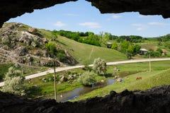 Cave in toltre near the Butesti village, Moldova Stock Photos