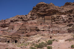 Cave tombs in Jebel Madbah mountain. Petra Stock Photography