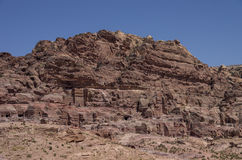 Cave tombs in Jebel Madbah mountain. Petra Stock Images