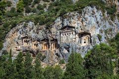 Cave tombs of Kaunos. Near Dalyan, Turkey Royalty Free Stock Photos
