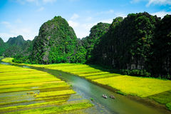 Cave tourist boats in Tam Coc, Ninh Binh, Vietnam Royalty Free Stock Photos