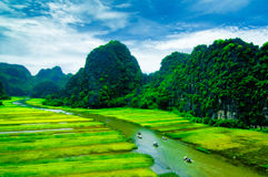 Cave tourist boats in Tam Coc, Ninh Binh, Vietnam Stock Photos