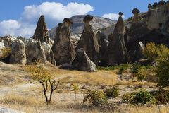 Cave town and rock formations royalty free stock photos