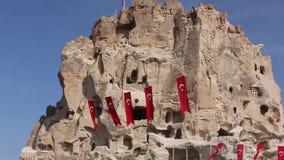 Cave town Uchisar, Turkey, Cappadocia stock footage