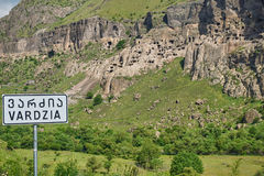 Cave town of Vardzia wit sign in foreground. Stock Photo
