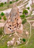 Cave towns. Cappadocia, Anatolia, Turkey. Open air museum, Gorem. Cave towns in rock formation, Stone houses in Goreme, mountain landscape carved in volcanic Stock Photography