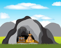 Cave with treasure. The Bonanza hidden in cave in mountain.Vector illustration Stock Image