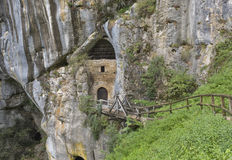 Cave under the castle Predjama in Slovenia Royalty Free Stock Photography