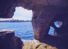 Cave under Sant Nicolau Castle in Ciutadella Stock Images