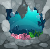 Cave under the sea background  Royalty Free Stock Image